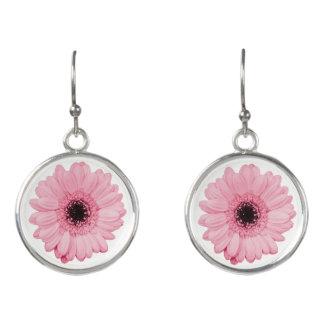 Girly pink gerbera flower elegant drop earrings