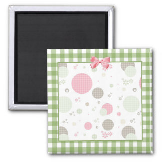 Girly Pink Gingham Pattern Circles Cute Daisies Square Magnet