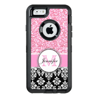 Girly, Pink, Glitter Black Damask Personalised OtterBox Defender iPhone Case