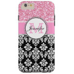 Girly, Pink, Glitter Black Damask Personalised Tough iPhone 6 Plus Case