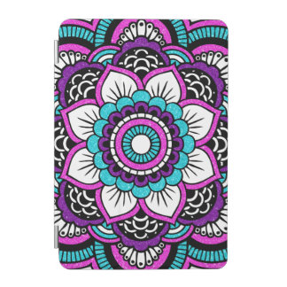 Girly Pink Glitter Floral Mandala iPad Mini Cover