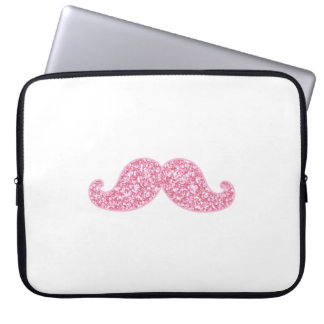 GIRLY PINK GLITTER MUSTACHE PRINTED LAPTOP SLEEVE