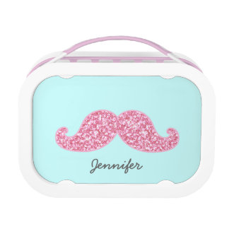 GIRLY PINK GLITTER MUSTACHE | Your Name Lunchboxes