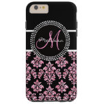 Girly Pink Glitter Printed Black Damask Monogram Tough iPhone 6 Plus Case