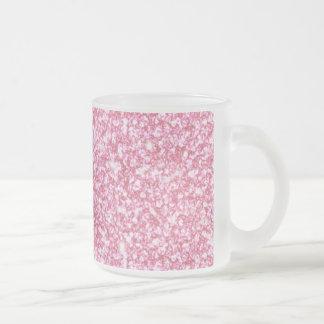 Girly Pink Glitter Printed Frosted Glass Mug