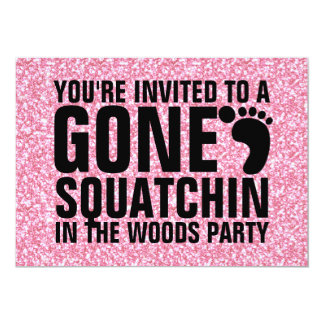 GIRLY PINK GLITTER PRINTED GONE SQUATCHIN PARTY 13 CM X 18 CM INVITATION CARD