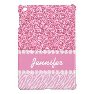 Girly, Pink Glitter, Zebra Stripes, Your Name iPad Mini Cases