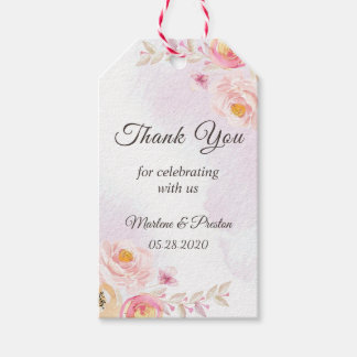 Girly Pink & Gold Floral Wedding Thank You Gift Gift Tags