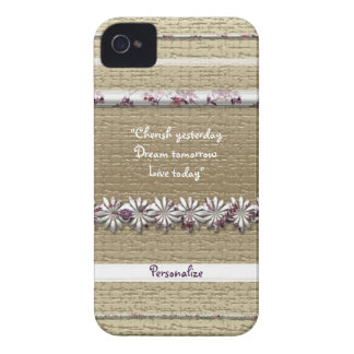 Girly pink gold flower stripe Blackberry Bold case