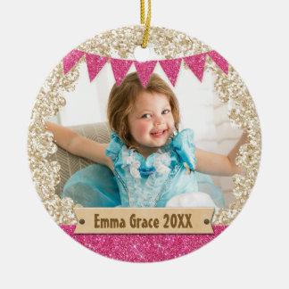 Girly Pink Gold Glitter Custom Photo Monogram Round Ceramic Decoration
