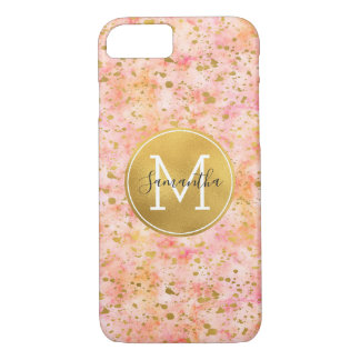 Girly Pink Gold Watercolor Confetti Monogram iPhone 8/7 Case