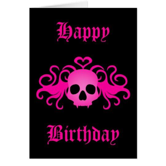 Girly pink goth fanged vampire skull on black card