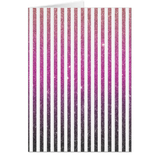Girly Pink Gradient Stripes Glitter Photo Print Card