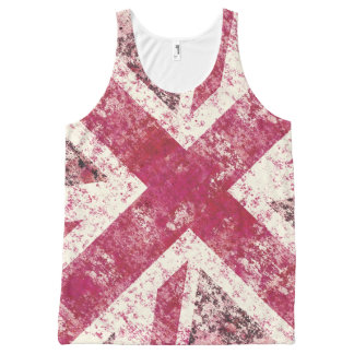 Girly pink  grunge Union Jack All-Over Print Singlet