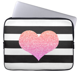 Girly Pink Heart Striped Laptop Computer Sleeve