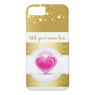 Girly Pink Heart with Gold Stars iPhone 8/7 Case
