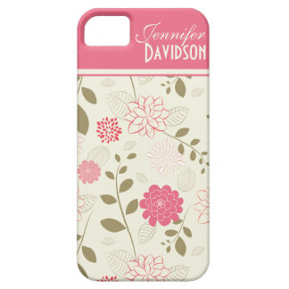 Girly Pink Ivory Tan Floral Monogram iPhone5 iPhone 5 Case