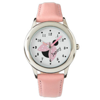 Girly Pink Ladybug Girl's Custom Watch