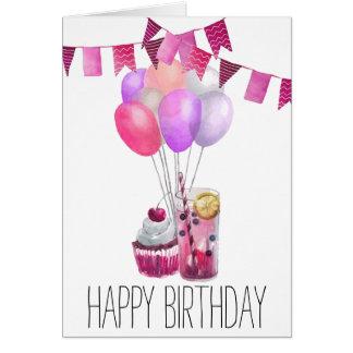 Girly Pink Lemonade Watercolor Cupcake Card