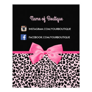 Girly Pink Leopard Print Cute Bow Beauty Boutique 11.5 Cm X 14 Cm Flyer