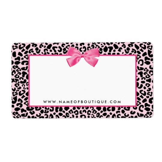 Girly Pink Leopard Print Cute Bow Beauty Boutique Shipping Label