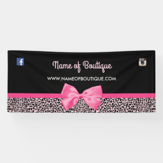 Girly Pink Leopard Print Cute Bow Boutique 6 ft Banner