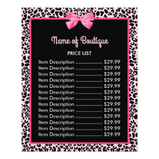 Girly Pink Leopard Print Cute Bow Boutique Price 11.5 Cm X 14 Cm Flyer