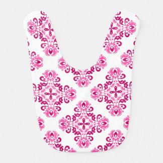 Girly pink maroon damask pattern bib