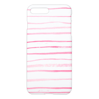 Girly pink modern watercolor hand made stripes iPhone 8 plus/7 plus case