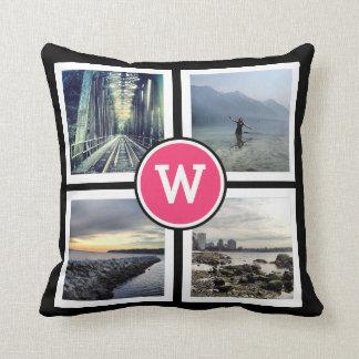 Girly Pink Monogram Instagram Photos 2 Sided Cushion