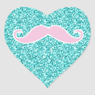 GIRLY PINK MUSTACHE ONTEAL GLITTER EFFECT STICKERS