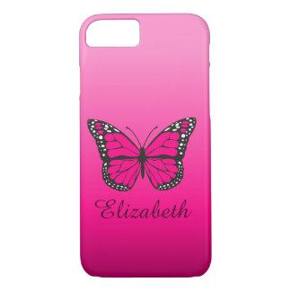 Girly Pink Ombre Butterfly Custom Name iPhone 8/7 Case