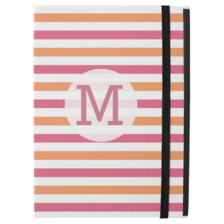 Girly Pink Orange White Stripe Monogram initial