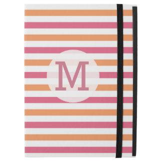 "Girly Pink Orange White Stripe Monogram initial iPad Pro 12.9"" Case"