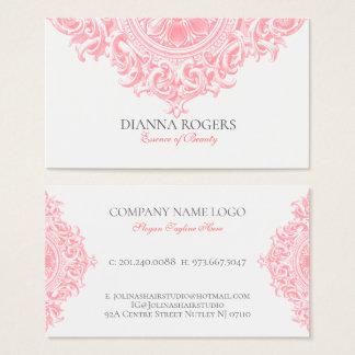 Girly Pink Ornate Vintage Mandala Swirls Business Card