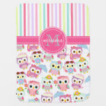 Girly Pink Owls Cute Pattern Personalised Buggy Blankets
