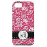 Girly PINK Paisley Pattern with Monogram iPhone 5 Cases
