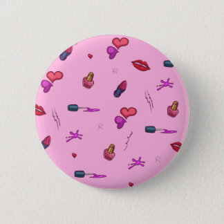 Girly Pink Pattern 6 Cm Round Badge