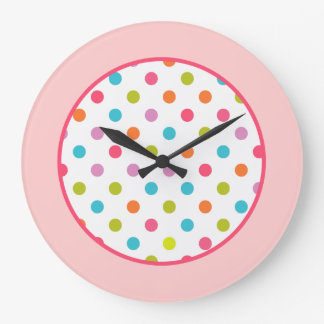 Girly Pink Polka Dots Clock