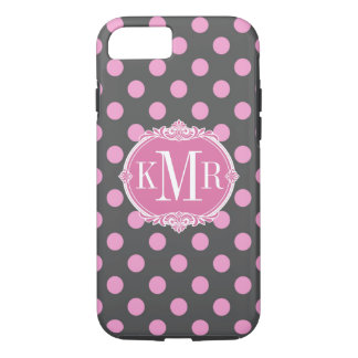 Girly Pink Polka Dots Pattern Vintage Monogram iPhone 7 Case