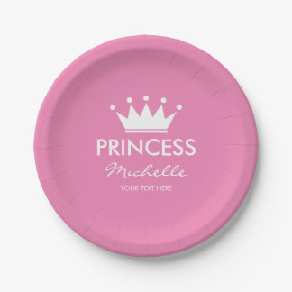 Girly pink princess crown girls baby shower plates