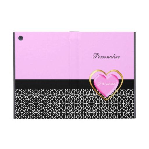 Girly Pink Princess Giraffe Print iPad Mini Cover