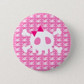 Girly Pink Punk Skull 6 Cm Round Badge