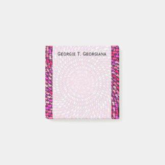 Girly Pink & Purple Swirly Pattern + Custom Name Post-it Notes