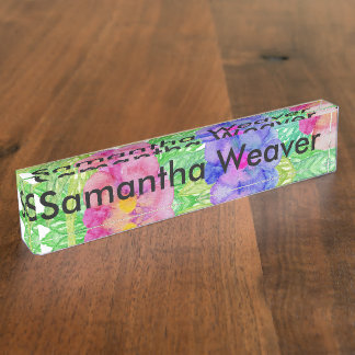 Girly Pink Purple Watercolor Flowers and Foliage Nameplate