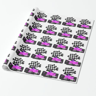 Girly Pink Race Car with Checkered Flag Wrapping Paper