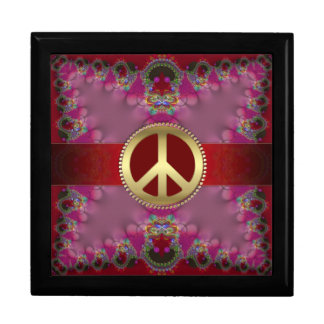Girly Pink+Red Gold Peace Sign Jewelry Gift Box