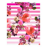 Girly Pink Retro Floral Pattern Pink Ombre Stripes Full Color Flyer
