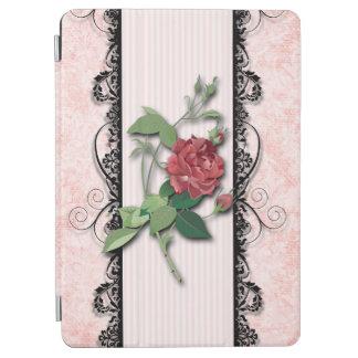 Girly Pink Roses and Black Filigree iPad Air Cover