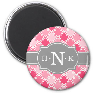 Girly Pink Scallop Pattern Grey Monogram 6 Cm Round Magnet